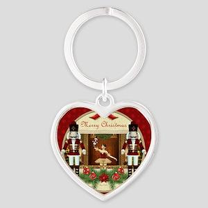 Red Nutcracker Ballerina Heart Keychain