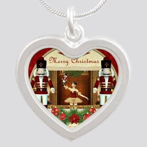 Red Nutcracker Ballerina Heart Silver Necklaces