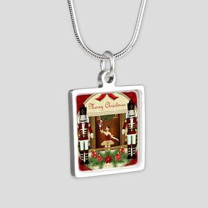 Red Nutcracker Ballerina Square Silver Necklaces