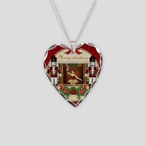 Red Nutcracker Ballerina Heart Necklace