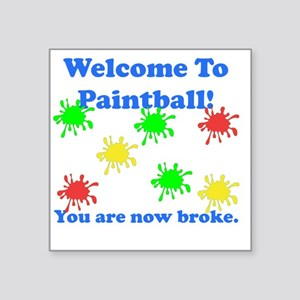 "Paintball Broke Blue Square Sticker 3"" x 3"""