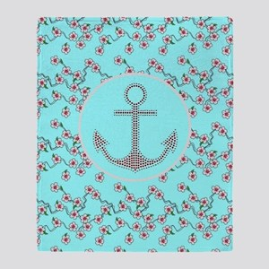 girly nautical anchor floral pattern Throw Blanket