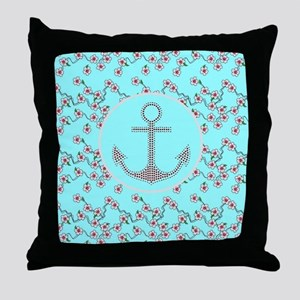 girly nautical anchor floral pattern Throw Pillow