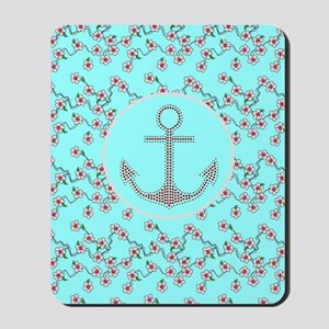 girly nautical anchor floral pattern Mousepad