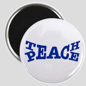 Teach Peace Blue Magnets