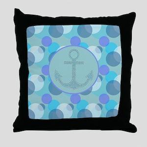 girly nautical anchor circles abstrac Throw Pillow