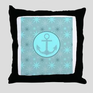 girly nautical anchor winter snowflak Throw Pillow