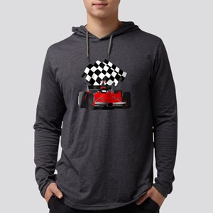 Red Race Car with Checkered F Long Sleeve T-Shirt