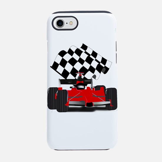 Red Race Car with Checkered Fl iPhone 7 Tough Case