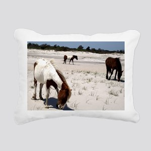 Assateague ponies Rectangular Canvas Pillow