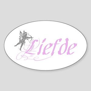 Cupid & Liefde Oval Sticker
