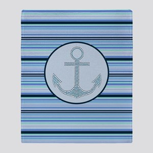 nautical anchor blue stripes pattern Throw Blanket