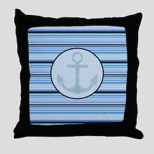 nautical anchor blue stripes pattern Throw Pillow