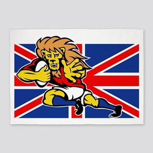 Cartoon British Lion rugby fending  5'x7'Area Rug