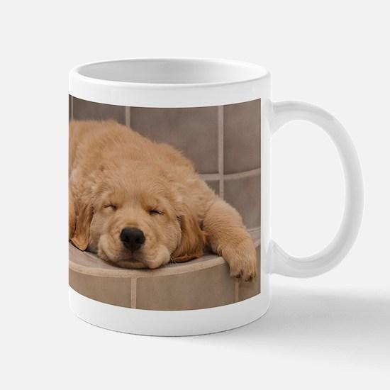 Golden Retriever Puppy Mug: Need Morning Coffee!