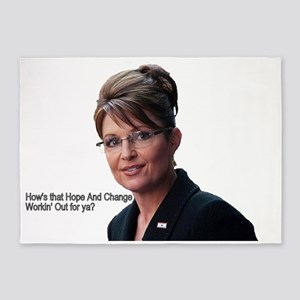 SarahPalin8huge with text969 5'x7'Area Rug