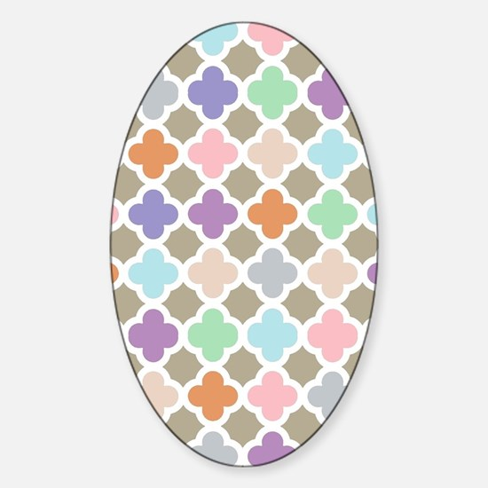 Girly Moroccan Quatrefoil Pattern P Sticker (Oval)