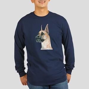 Fawn Great Dane Dog Long Sleeve Dark T-Shirt