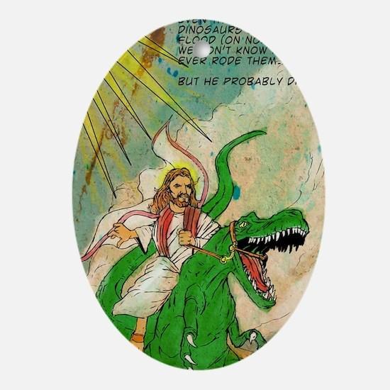 jesus raptor Oval Ornament