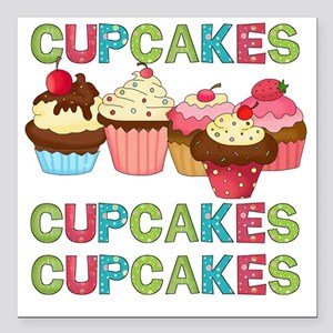"cupcakestimesthree Square Car Magnet 3"" x 3"""