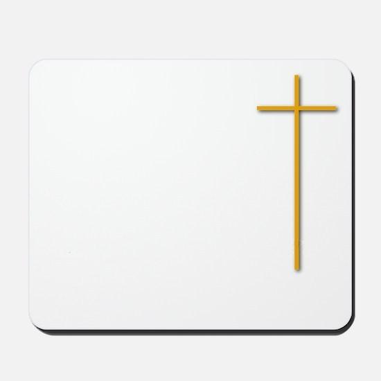 John 16-33 Yellow Cross White Letters W  Mousepad