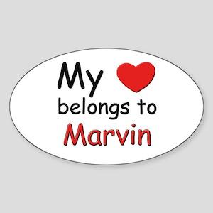 My heart belongs to marvin Oval Sticker