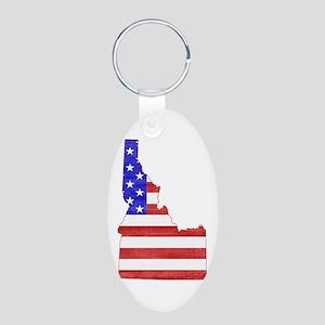 Idaho Flag Aluminum Oval Keychain