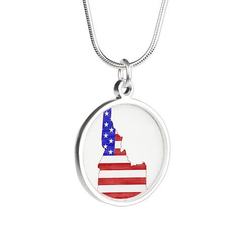 Idaho Flag Silver Round Necklace