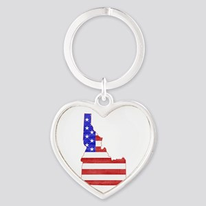 Idaho Flag Heart Keychain