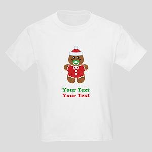 Personalize Gingerbread Santa Baby Kids Light T-Sh