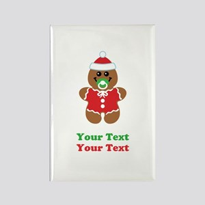 Personalize Gingerbread Santa Baby Rectangle Magne