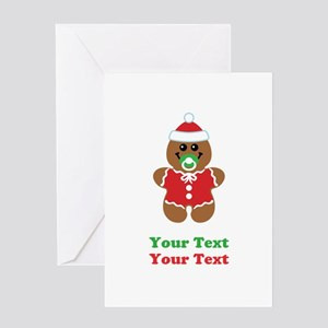 Personalize Gingerbread Santa Baby Greeting Card