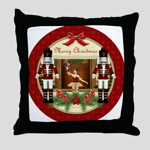Red Nutcracker Ballerina Throw Pillow