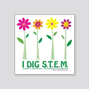 "Flower Design STEM Square Sticker 3"" x 3"""