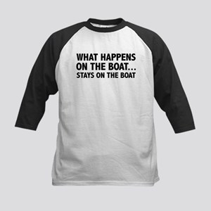 What Happens On The Boat... Kids Baseball Jersey