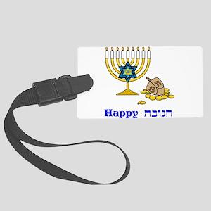 Happy Hanukkah Large Luggage Tag