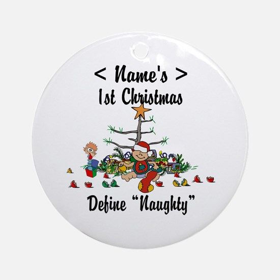 Personalized 1st Christmas (Name) Ornament (Round)
