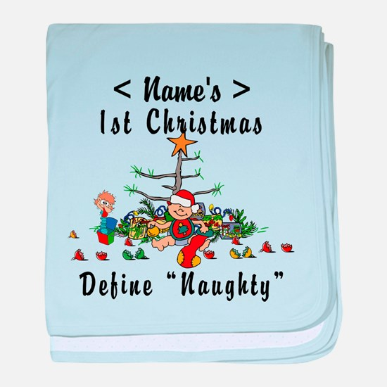 Personalized 1st Christmas (Name) baby blanket