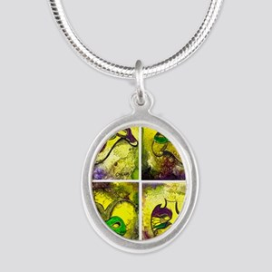 Mardi Gras Mask Art by GG Bur Silver Oval Necklace