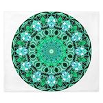 Emerald Crystals Mandala King Duvet