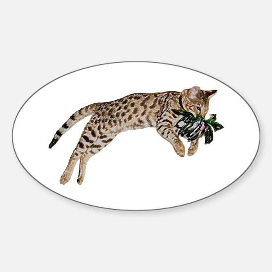 Cat Leap - Sticker (Oval)