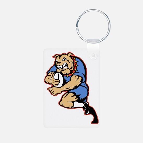 Bulldog playing rugby runn Keychains