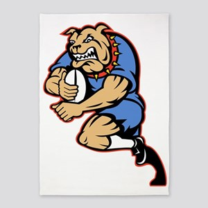 Bulldog playing rugby running with  5'x7'Area Rug