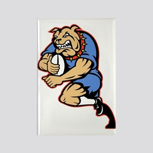Bulldog playing rugby running wit Rectangle Magnet