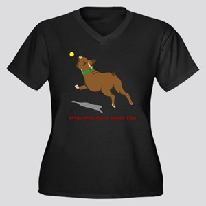 Tripawd Fun  Women's Plus Size Dark V-Neck T-Shirt
