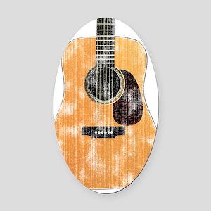 Acoustic Guitar (worn) Oval Car Magnet
