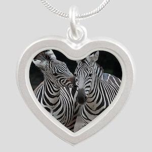 Zebra005 Silver Heart Necklace