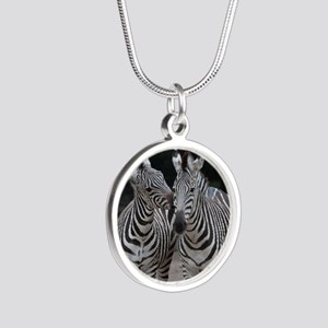 Zebra005 Silver Round Necklace