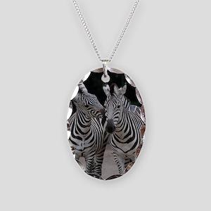 Zebra005 Necklace Oval Charm