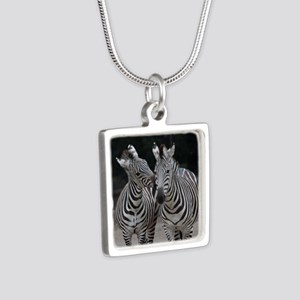 Zebra005 Silver Square Necklace